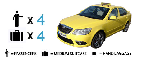 Book online taxi up to 4 passengers